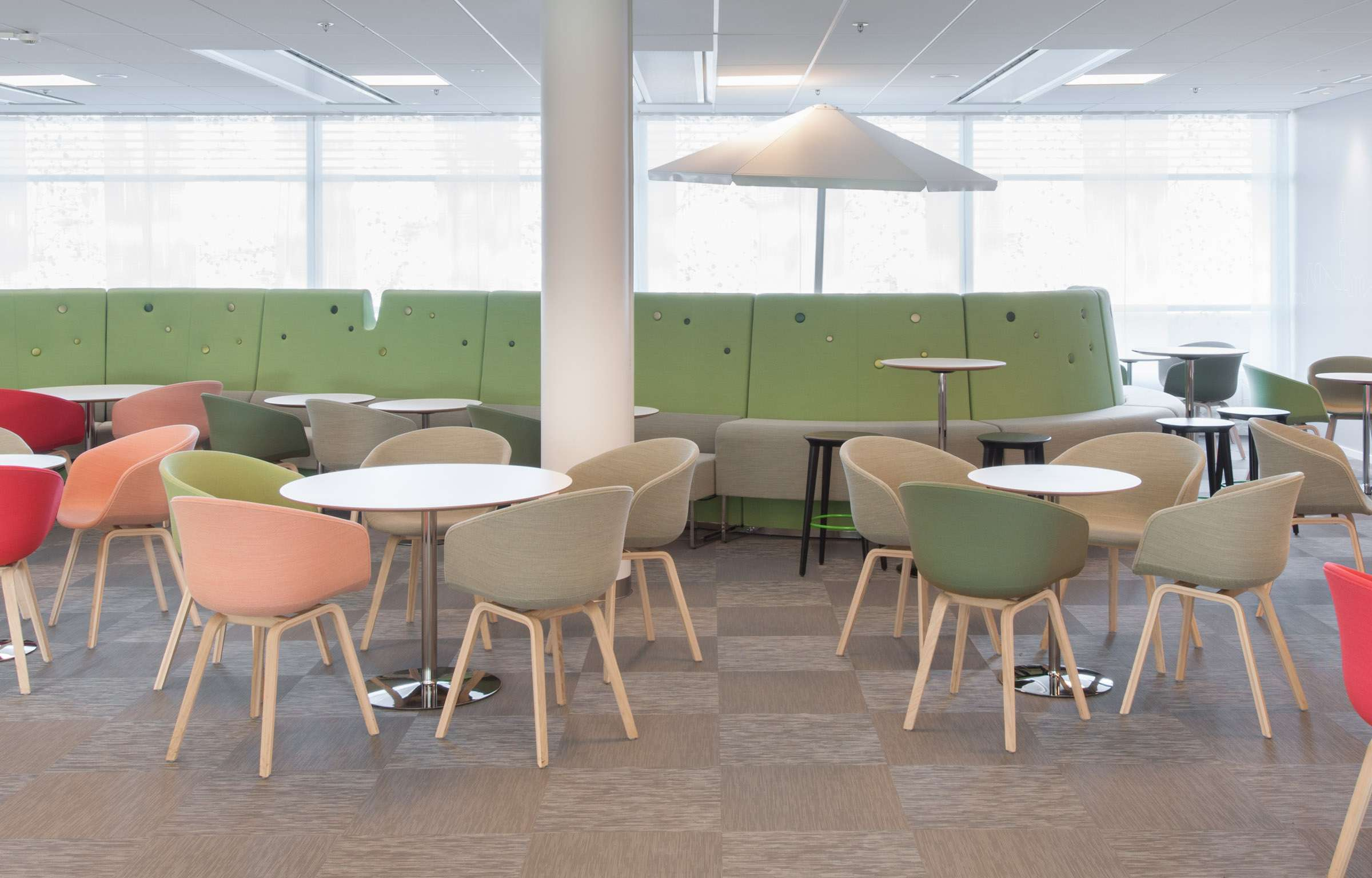 Checkered floor in brown using Bolon Studio™ tiles in the office of Microsoft in Stockholm, Sweden