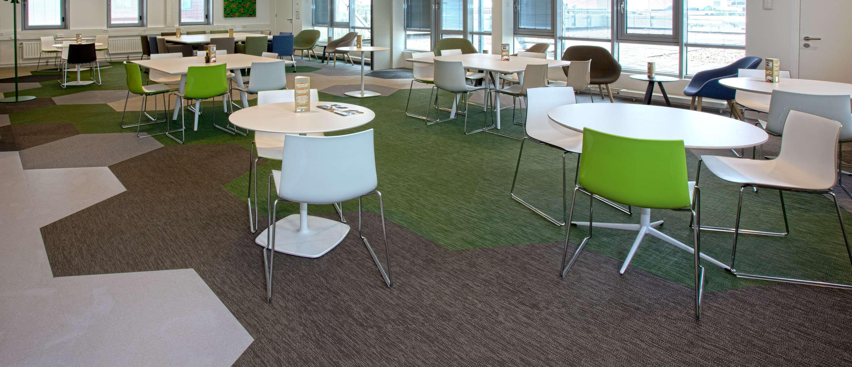 Bolon flooring in the office of Rabobank Groningen in Groningen, Netherlands