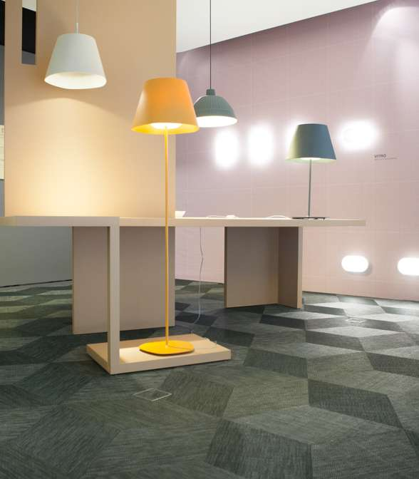 Bolon floor tiles in the FontanaArte flagship store
