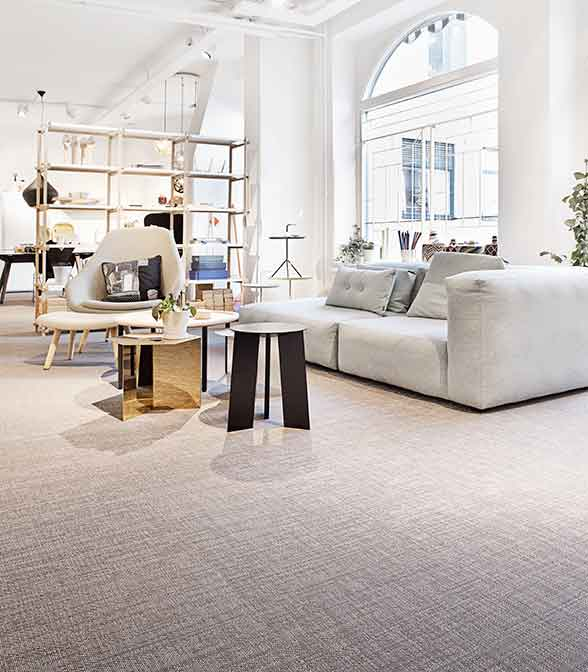 Bolon flooring in Gulled's showroom in Gothenburg