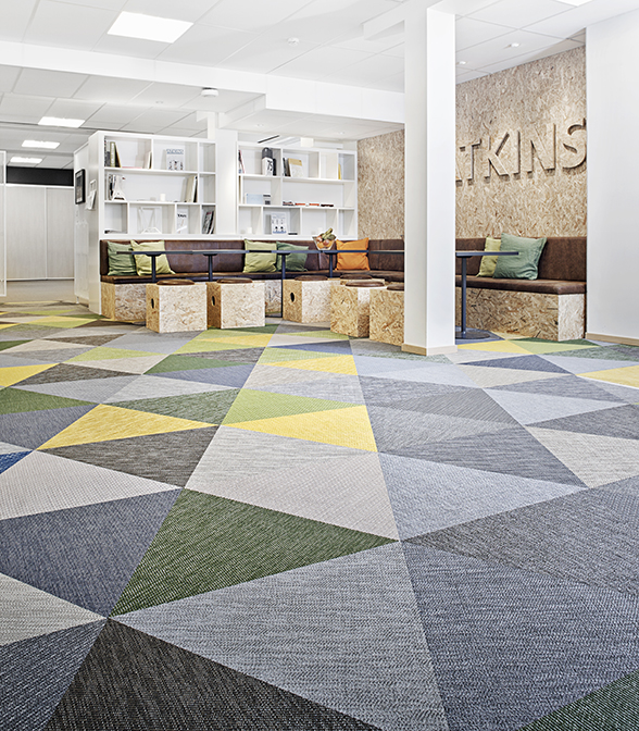 Bolon flooring in the office of Atkins in Jönköping, Sweden