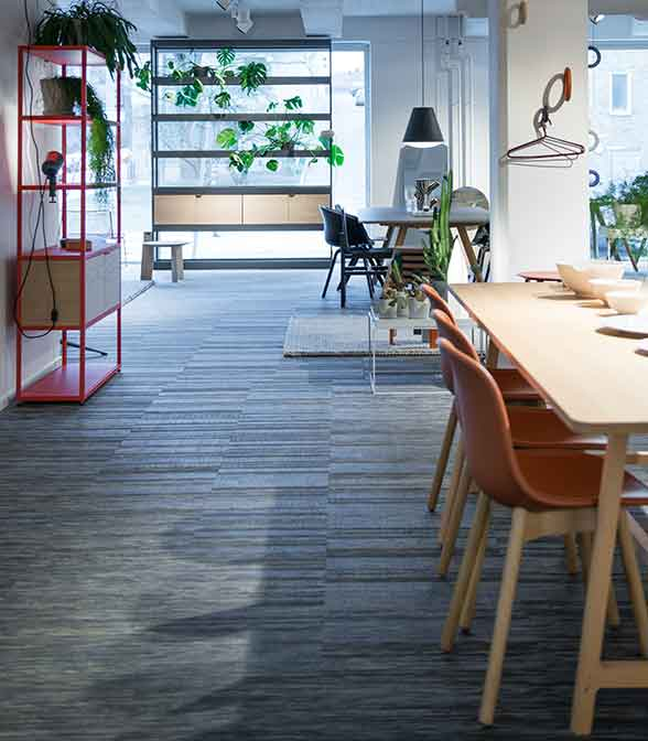 Bolon flooring in Gulled's showroom in Stockholm