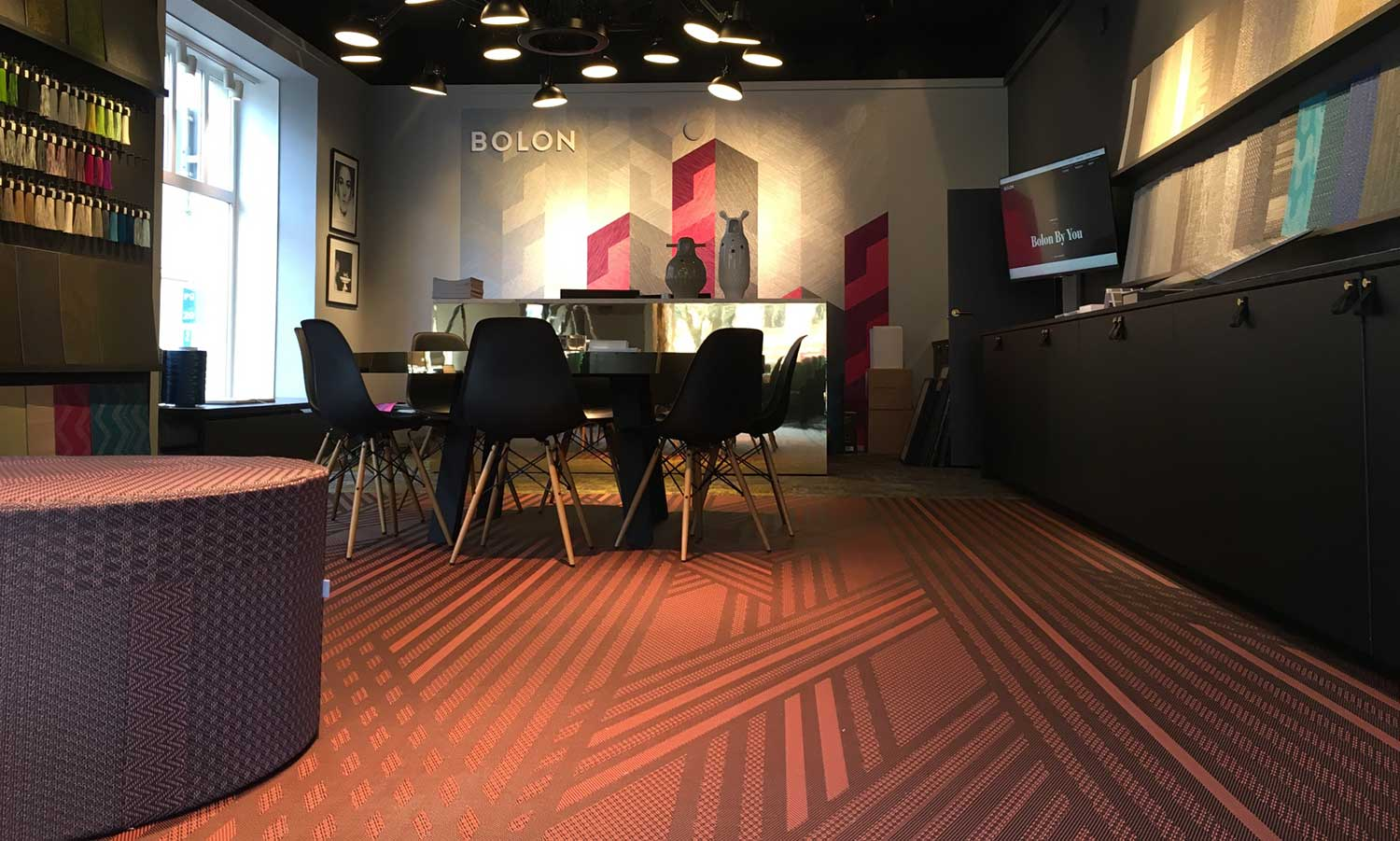 Red and Black Bolon By You Stripe flooring in the Bolon Helsinki showroom