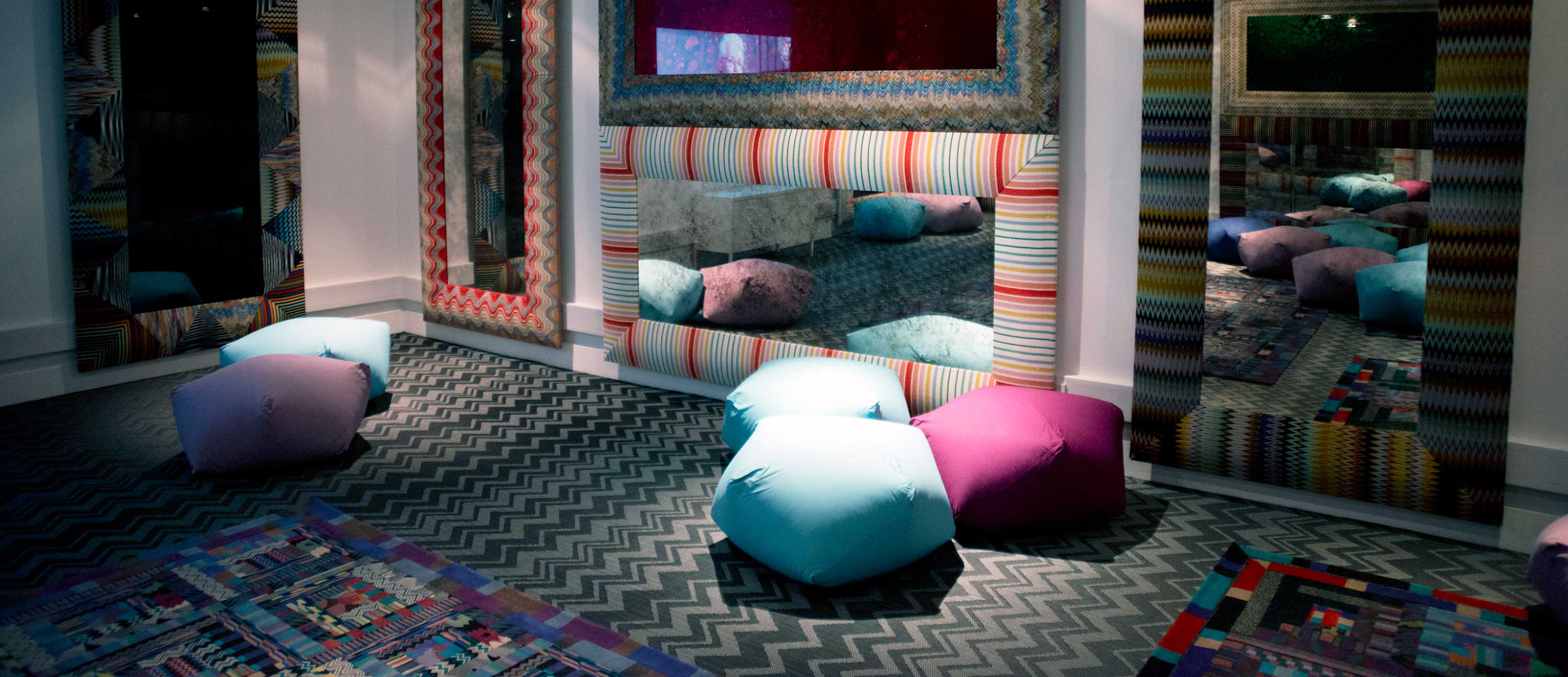 Zigzag patterned Bolon by Missoni flooring at the London Textile and Fashion Museum
