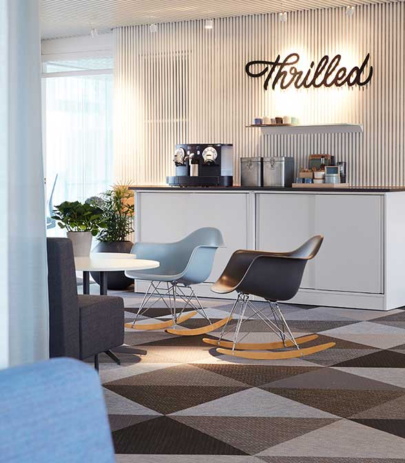 Triangle flooring tiles from Bolon in the office of Thrilles in Malmö, Sweden