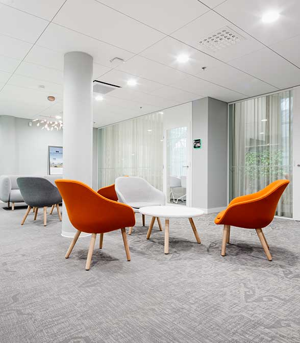 Grey resilient flooring from Bolon in the office of Genesta in Helsinki, Finland