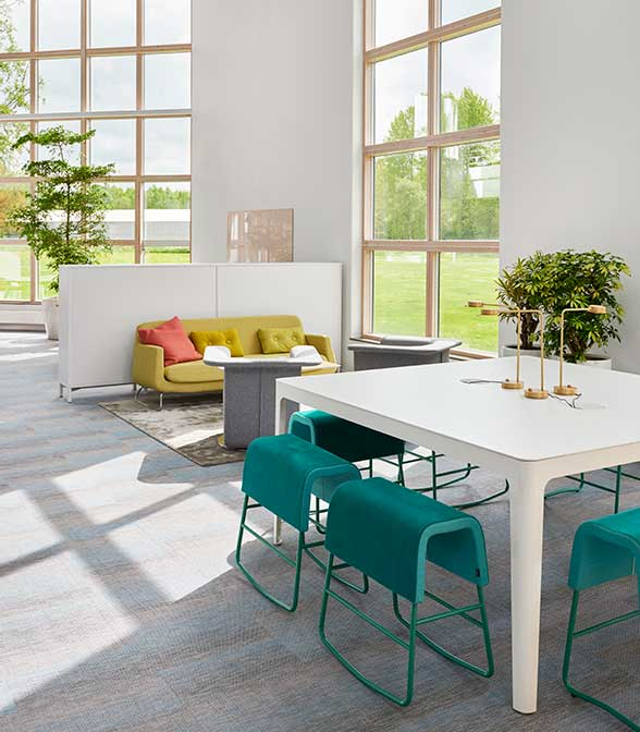 Resilient flooring from Bolon in the office of Kinnarps in Kinnarp, Sweden