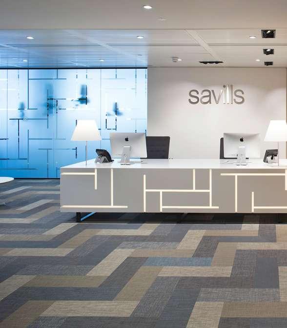 Bolon flooring in the office of Savills in London, UK