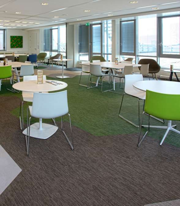 Bolon flooring in the office of Rabobank Groningen in Groningen, Netherlands