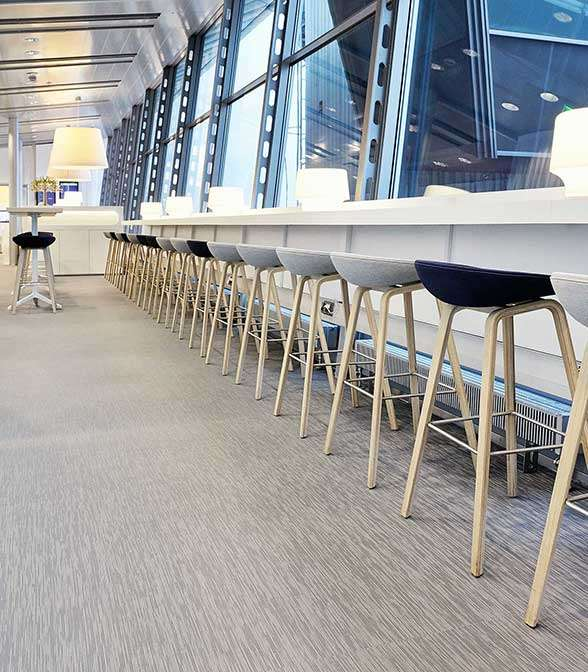 Bolon flooring in the Finnair Schengen Lounge at Helsinki Airport