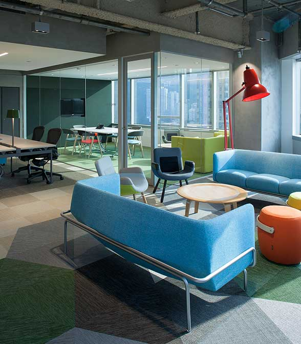 Bolon flooring in the office of Education First in Hong Kong