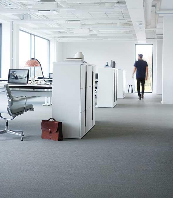 Grey Bolon flooring in the office of Varner in Asker, Norway