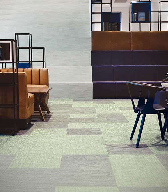 Elegant and tactile Bolon flooring in the office of Västsvenska Handelskammaren in Gothenburg, Sweden