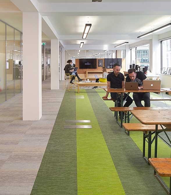 Bolon flooring from the Flow, Botanic and Artistan collections in the office of MullenLowe Group in London
