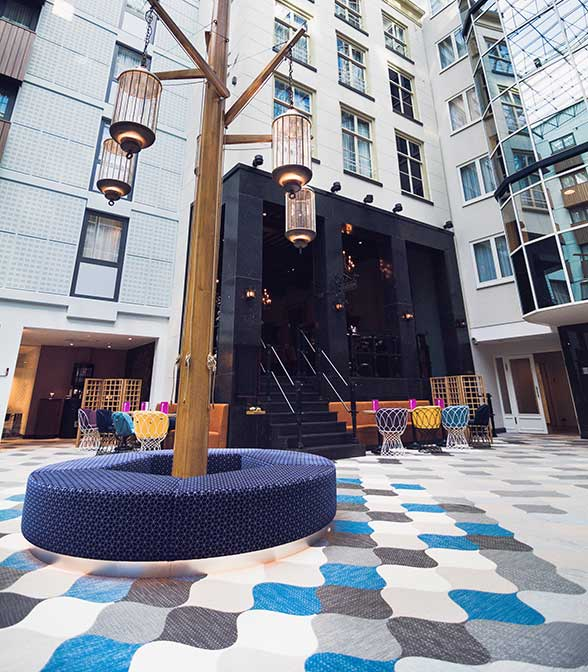 Custom Bolon floor tiles in Radisson BLU Hotel, Amsterdam