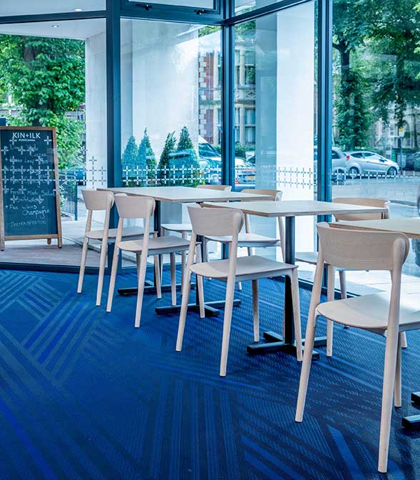 Bolon flooring at the KIN + ILK café in Cardiff, UK