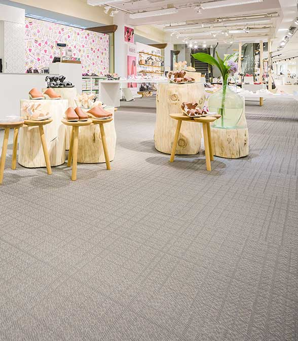 Grey Bolon flooring in the Stockmann department store in Helsinki, Finland