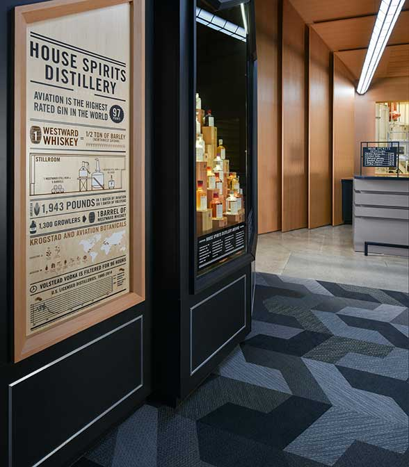 Beautiful floor covering using Bolon Studio™ Wings in the lobby of the House Of Spirits distillery in Portland, OR