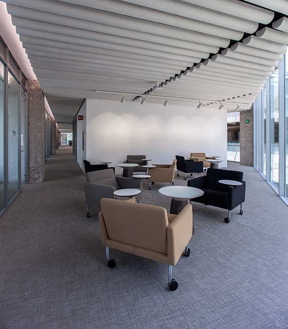 Bolon Silence Gracious flooring in the library at El Colegio De Mexico in Mexico City